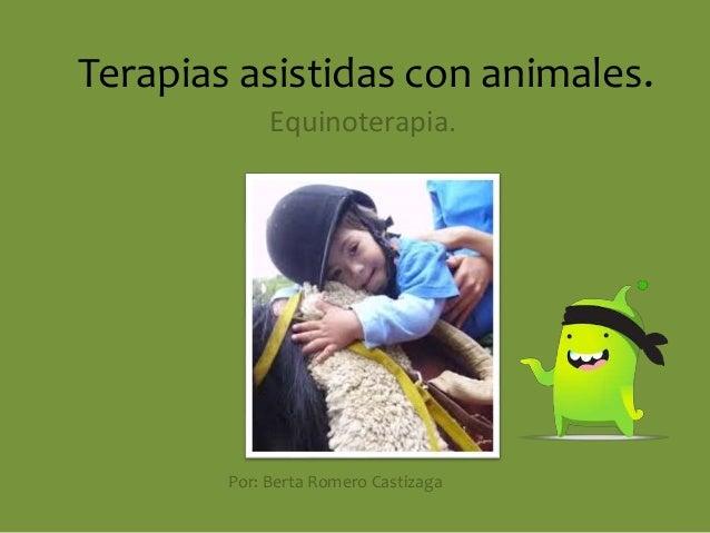Terapias asistidas con animales.  Equinoterapia.  Por: Berta Romero Castizaga