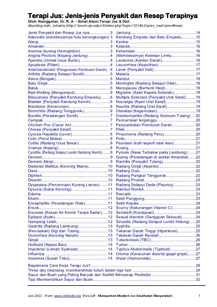 Terapi jus   jenis penyakit dan resep terapinya(2)