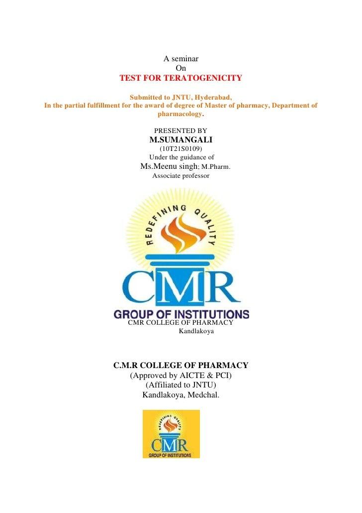 Seminar on Teratogenicity by Sumaraja
