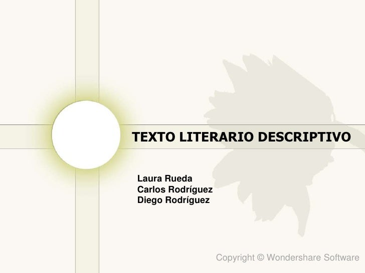 Tercera presentacion: texto descriptivo