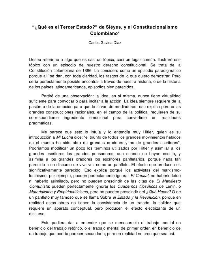 """""""¿Qué es el Tercer Estado?"""" de Siéyes, y el Constitucionalismo                         Colombiano*                        ..."""