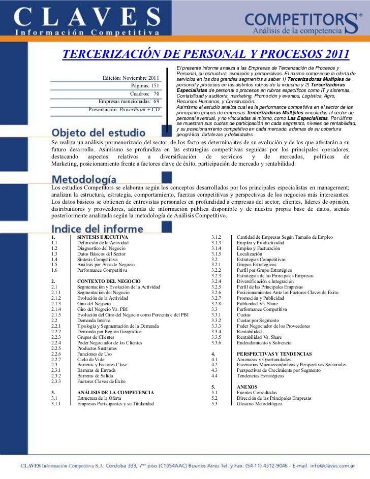 TERCERIZACIÓN DE PERSONAL Y PROCESOS 2011                                                          El presente informe ana...