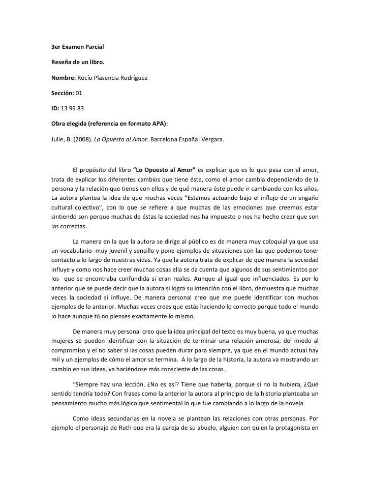 3er Examen Parcial <br />Reseña de un libro. <br />Nombre: Rocío Plasencia Rodríguez<br />Sección: 01<br />ID: 13 99 83 <b...