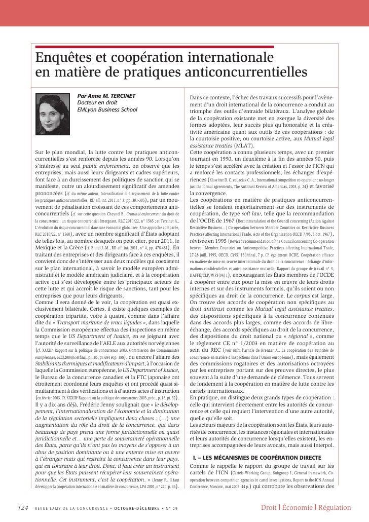Enquêtes et coopération internationale      en matière de pratiques anticoncurrentielles                                  ...