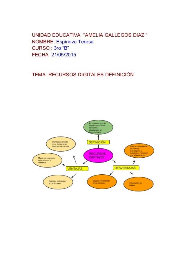 """UNIDADEDUCATIVA""""AMELIAGALLEGOSDIAZ"""" NOMBRE:EspinozaTeresa CURSO:3ro""""B"""" FECHA21/05/2015   TEMA:REC..."""