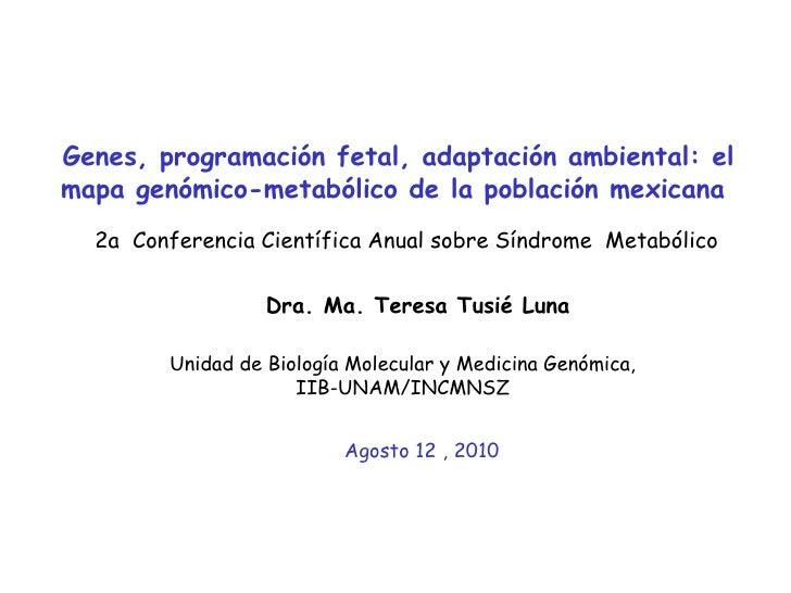 Genes, programación fetal, adaptación ambiental: el mapa genómico-metabólico de la población mexicana  Dra. Ma. Teresa Tus...