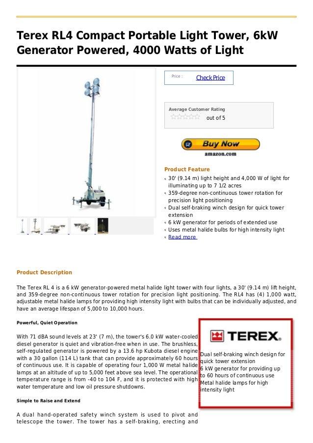 Terex rl4 compact portable light tower, 6k w generator powered, 4000 watts of light