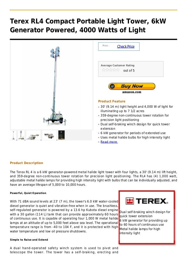 Terex rl4 compact portable light tower, 6k w generator powered, 4000 watts of light