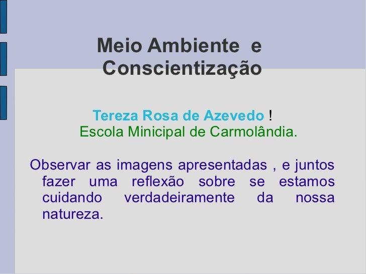 Meio Ambiente e         Conscientização       Tereza Rosa de Azevedo !      Escola Minicipal de Carmolândia.Observar as im...