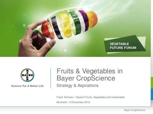 Fruits & Vegetables inBayer CropScienceStrategy & AspirationsFrank Terhorst – Head of Fruits, Vegetables and InsecticidesM...