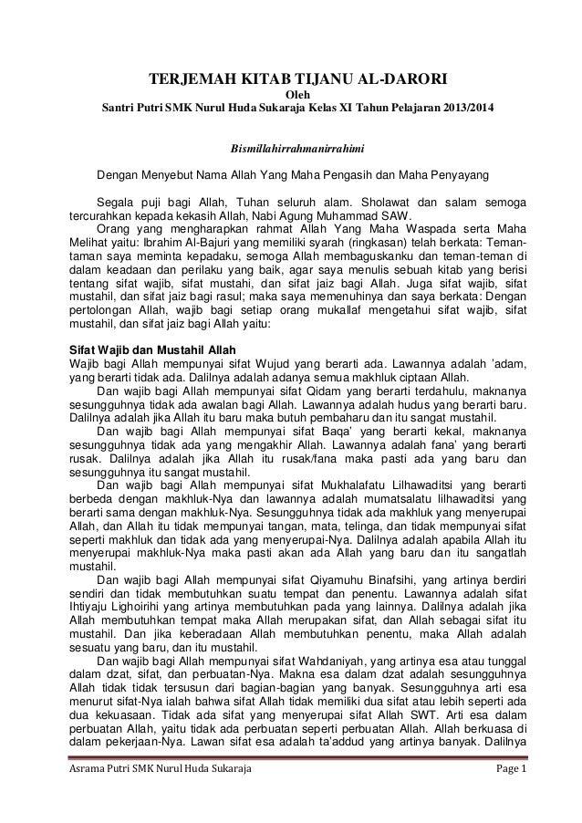 TERJEMAH KITAB TIJANU AL-DARORI Oleh Santri Putri SMK Nurul Huda Sukaraja Kelas XI Tahun Pelajaran 2013/2014  Bismillahirr...