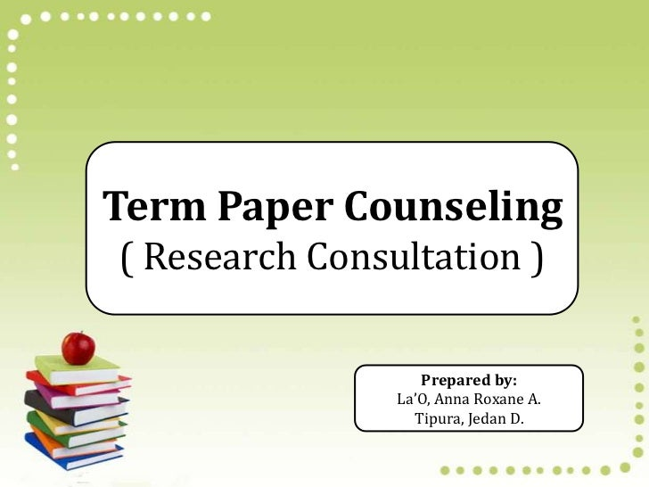 Term paper counseling services