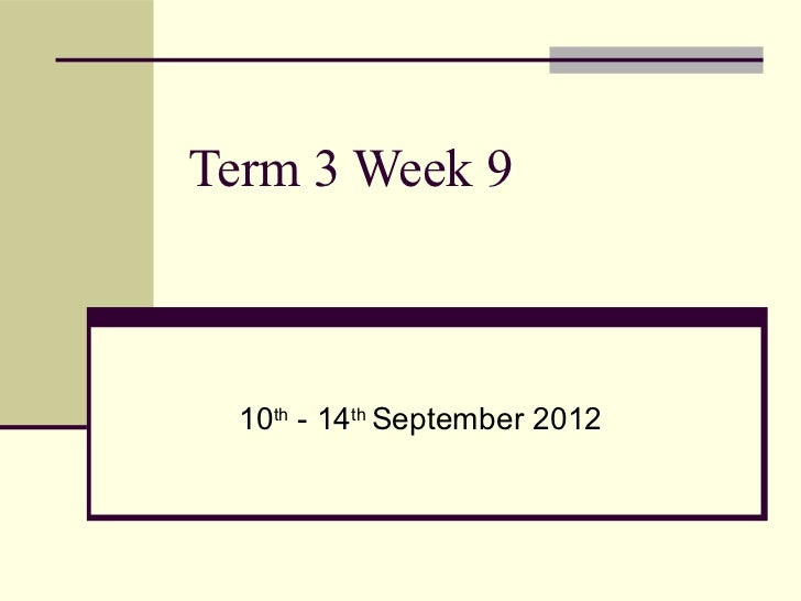 Term 3 Week 9  10th - 14th September 2012