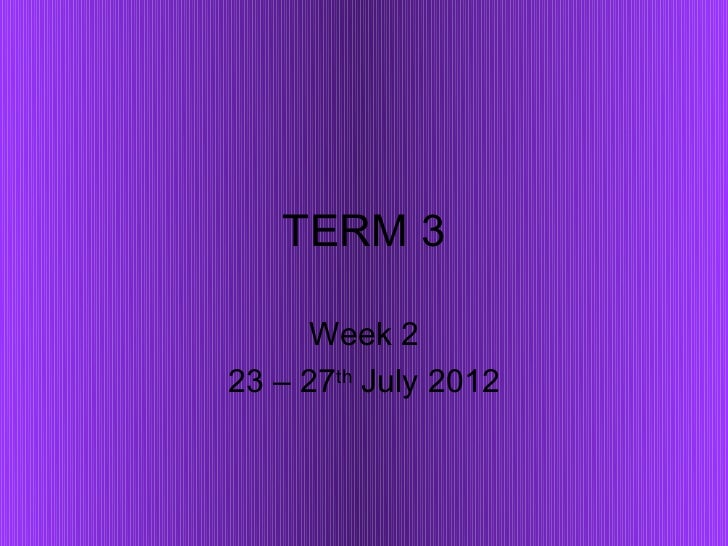 TERM 3     Week 223 – 27th July 2012