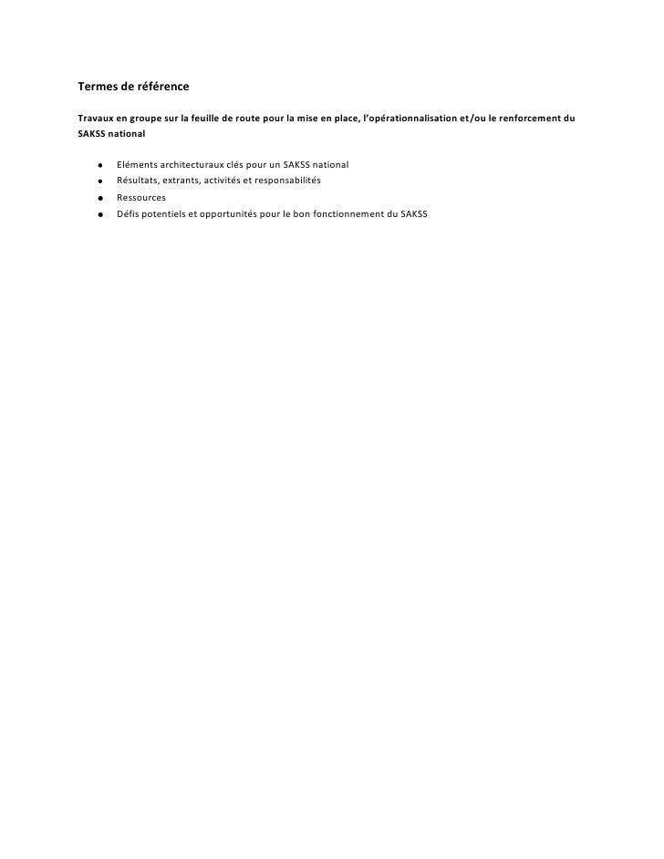 Termes de référenceTravaux en groupe sur la feuille de route pour la mise en place, l'opérationnalisation et/ou le renforc...