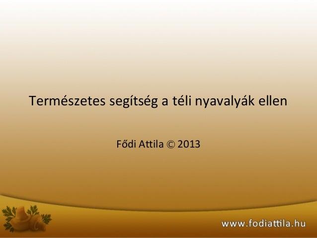 Természetes segítség a téli nyavalyák ellen Fődi Attila Ⓒ 2013