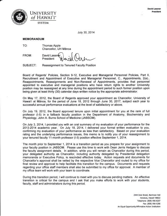 UNIVERSITY o/ HAWAI'I. SYSTEM MEMORANDUM TO: Thomas Apple Chancellor, UH M6noa July 30, 2014 FROM: SUBJECT: Bi'i[Hi'^q*lp,...