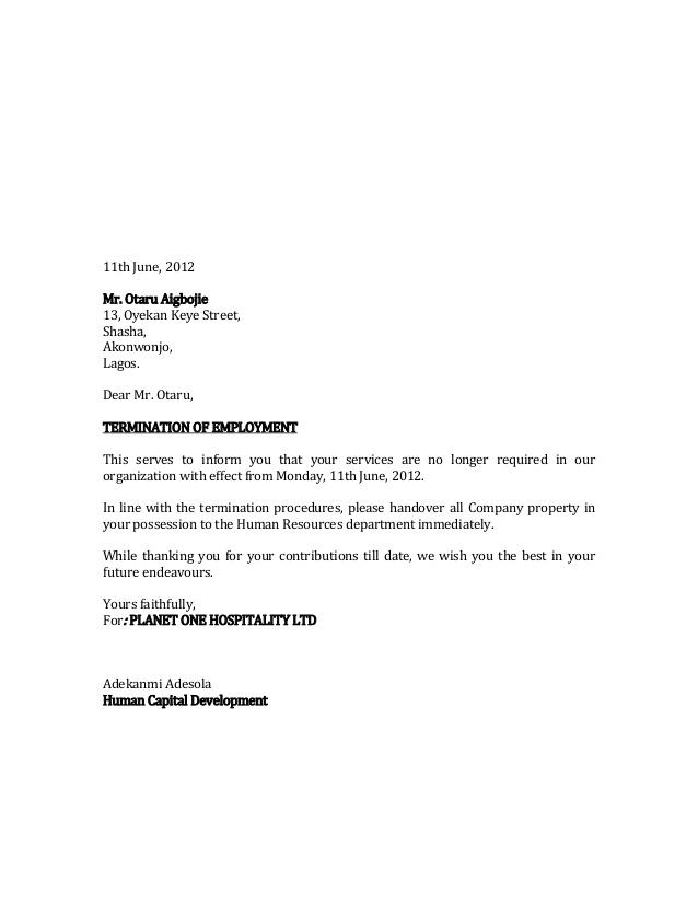 Sample Termination Letter For Weding Vendor