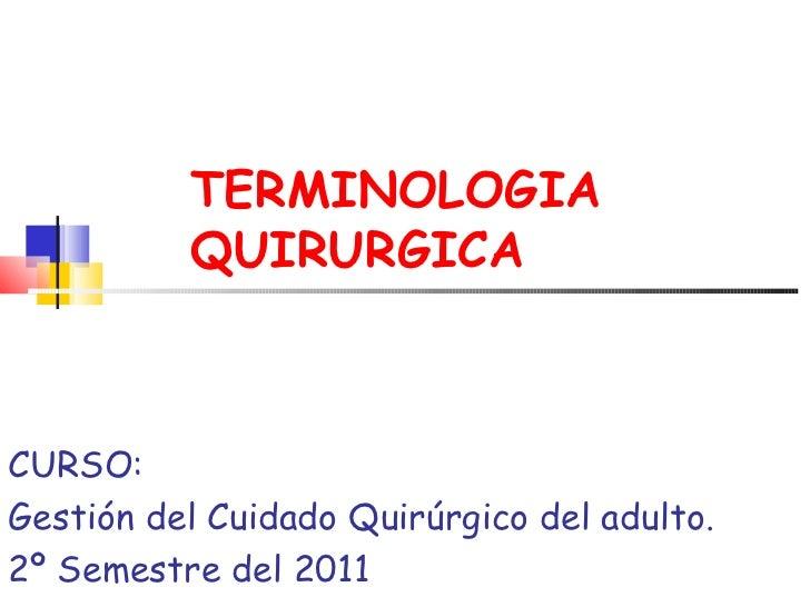 TERMINOLOGIA QUIRURGICA CURSO:  Gestión del Cuidado Quirúrgico del adulto. 2º Semestre del 2011