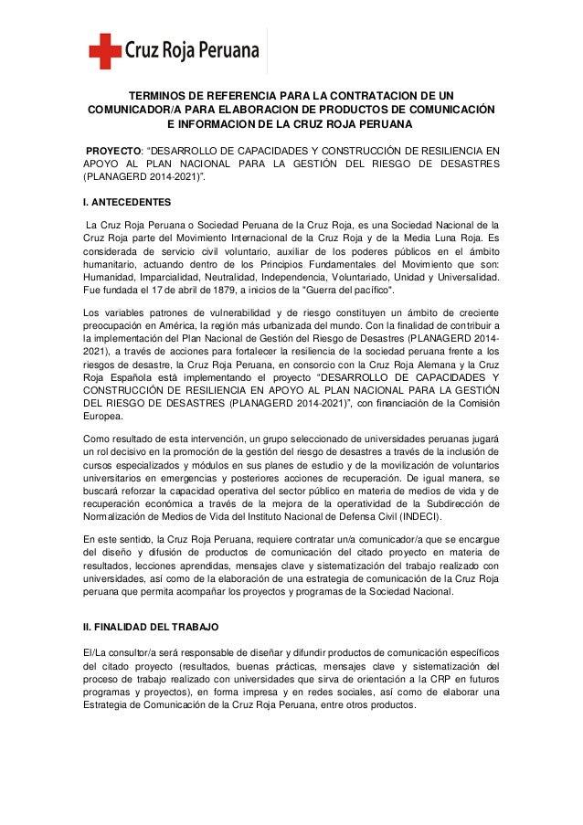 TERMINOS DE REFERENCIA PARA LA CONTRATACION DE UN COMUNICADOR/A PARA ELABORACION DE PRODUCTOS DE COMUNICACIÓN E INFORMACIO...