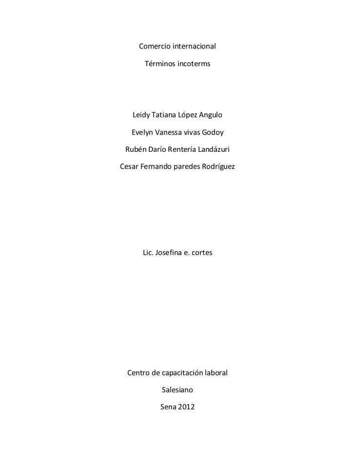 Terminos incoterms (resumen)