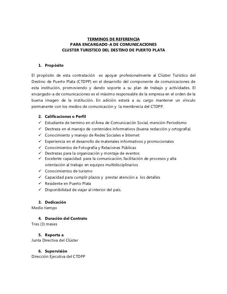 TERMINOS DE REFERENCIA                    PARA ENCARGADO-A DE COMUNICACIONES                 CLUSTER TURISTICO DEL DESTINO...