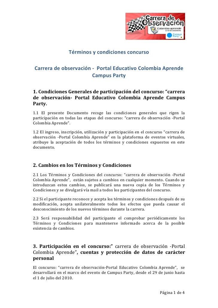 Términos y condiciones concurso  Carrera de observación - Portal Educativo Colombia Aprende                        Campus ...