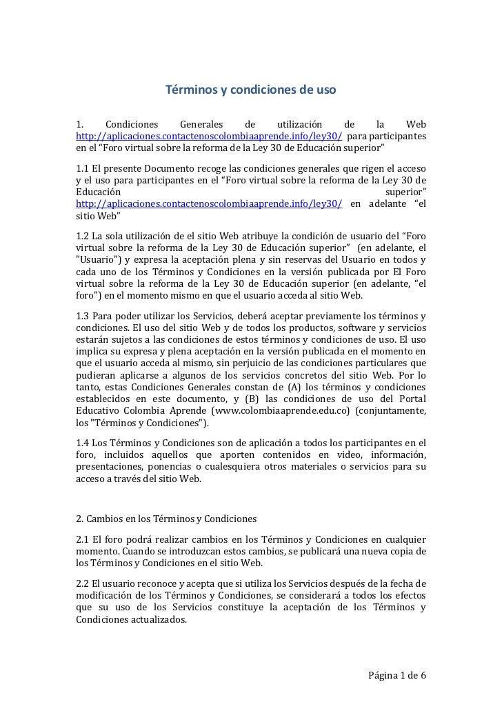 Términos y condiciones de uso1.      Condiciones      Generales       de     utilización    de     la Webhttp://aplicacion...