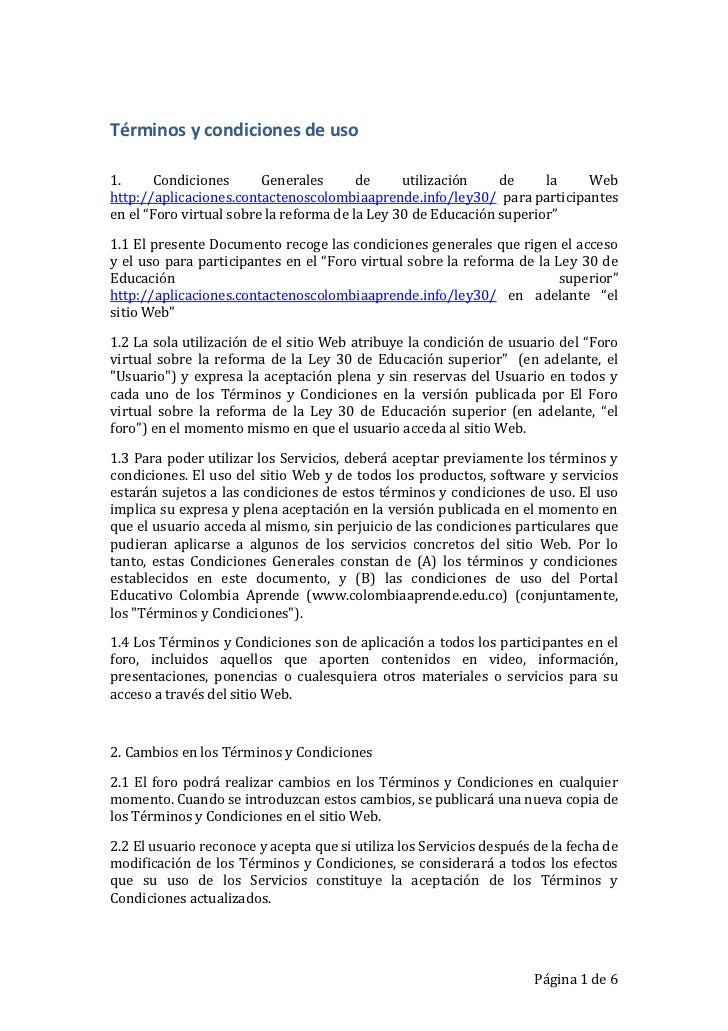 Términos y condiciones de uso<br />1. Condiciones Generales de utilización de la Web http://aplicaciones.contactenoscolomb...