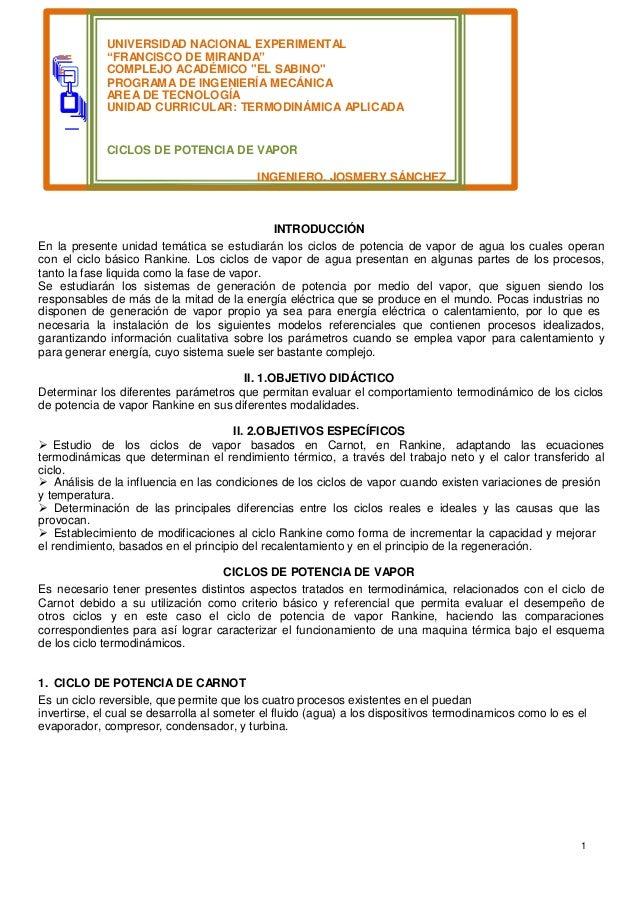 """1 == = UNIVERSIDAD NACIONAL EXPERIMENTAL """"FRANCISCO DE MIRANDA"""" COMPLEJO ACADÉMICO """"EL SABINO"""" PROGRAMA DE INGENIERÍA MECÁ..."""