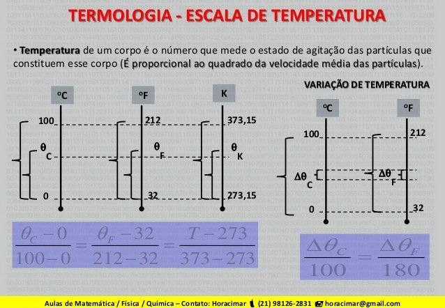 Termologia   escala temperatura, dilatação térmica, fluxo de calor, termodinâmica