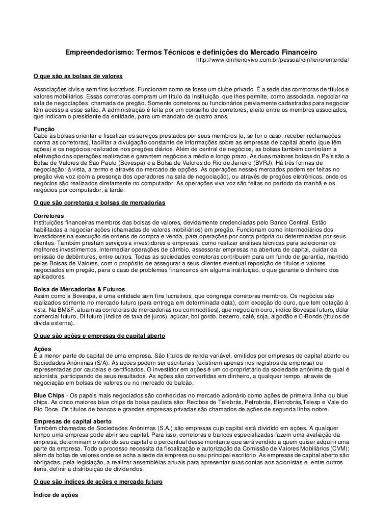 Empreendedorismo: Termos Técnicos e definições do Mercado Financeiro                                                      ...