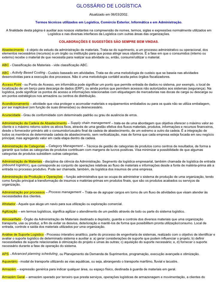GLOSSÁRIODELOGÍSTICA                                                               Atualizadoem06/03/2002.            ...