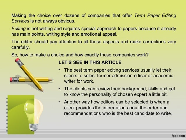 Term paper editing service