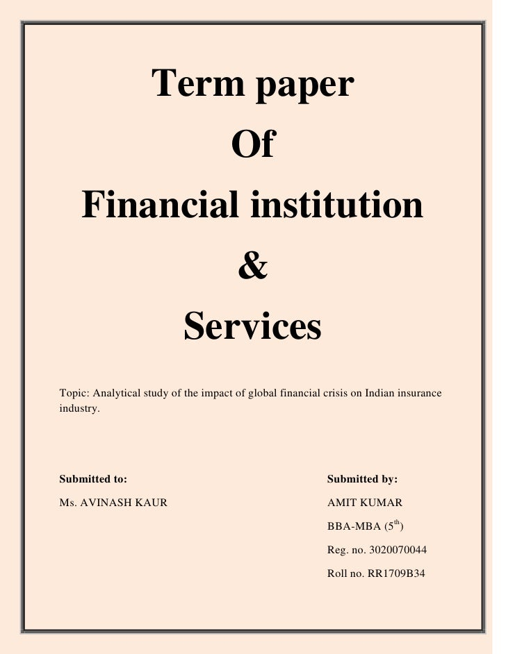Essays on financial institutions