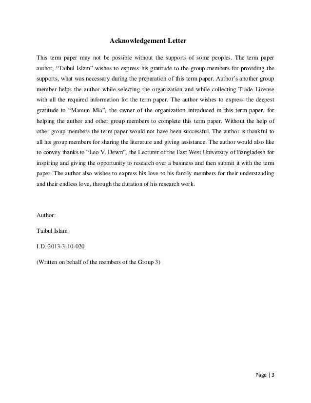 Example Of Acknowledgement In A Research Paper