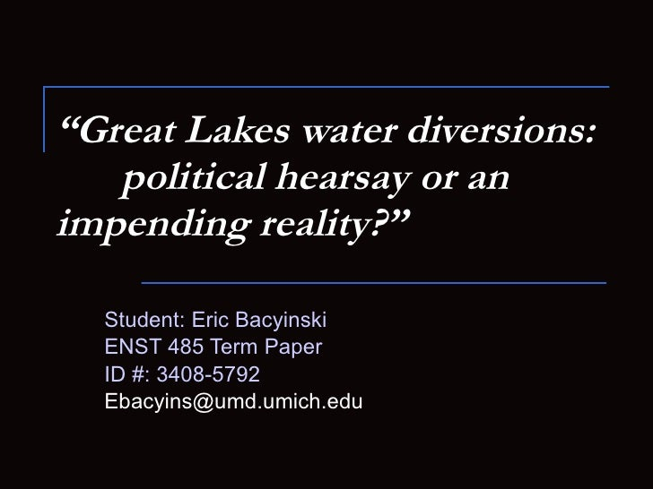 Great Lakes Diversion History
