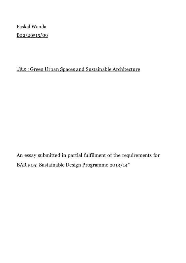 Green Spaces in urban settings.
