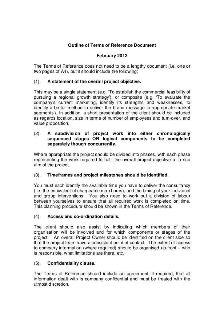 Outline of Terms of Reference Document                                 February 2012The Terms of Reference does not need t...