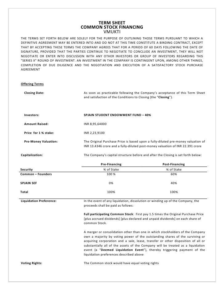 venture capital term sheet template - term sheet venture capital competition avenues 08