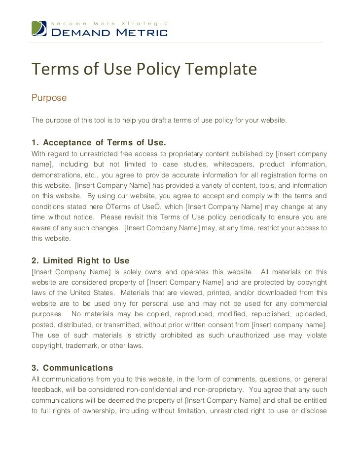 terms of use policy template With term of use template