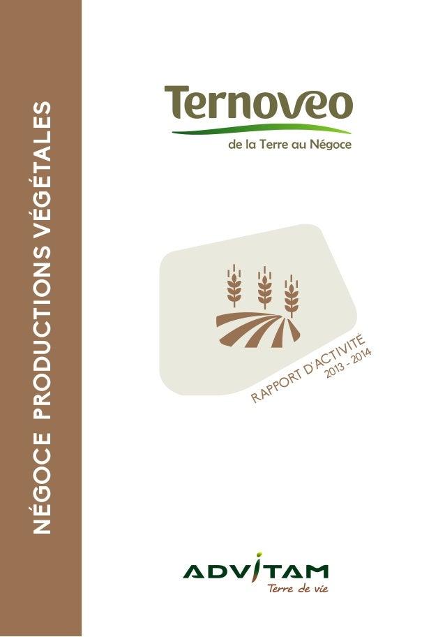 RAPPORT D'ACTIVITÉ 2013 - 2014 NÉGOCEPRODUCTIONSVÉGÉTALES