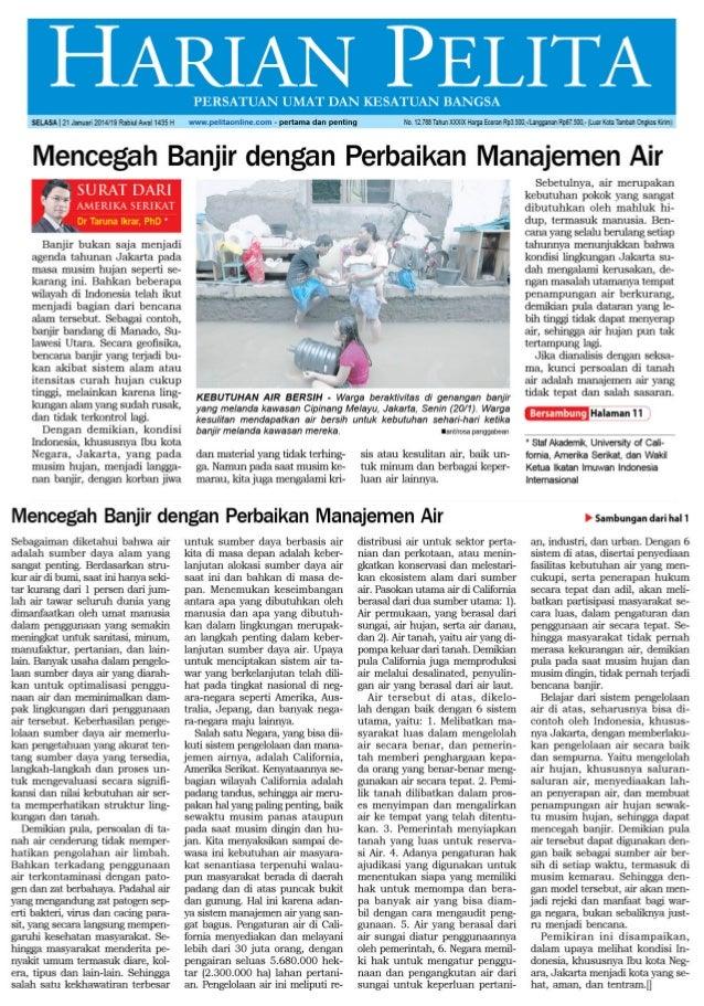 Terobosan pencegahan banjir dan pengelolaan air yang benar (harian pelita januari 20 2014 hal-1&11)