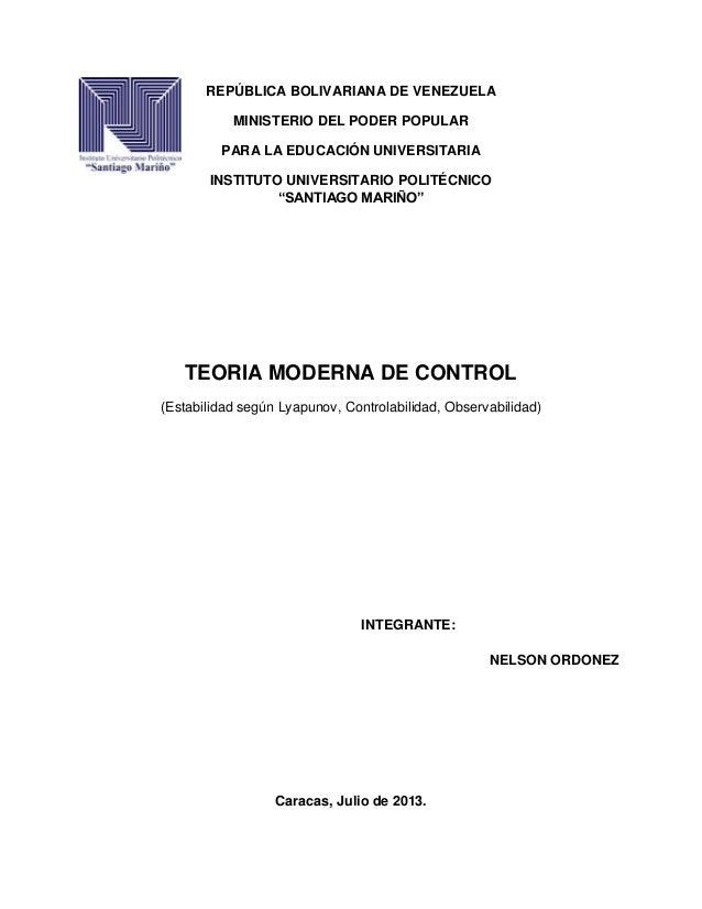 TEORIA MODERNA DE CONTROL
