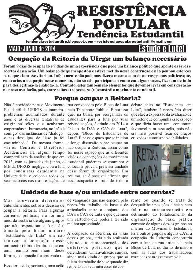 Ocupação da Reitoria da Ufrgs: um balanço necessário Tendência Estudantil s stendenciaestudantilrp.blogspot.com - resisten...