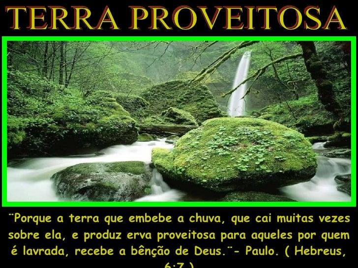 TERRA PROVEITOSA ¨Porque a terra que embebe a chuva, que cai muitas vezes sobre ela, e produz erva proveitosa para aqueles...