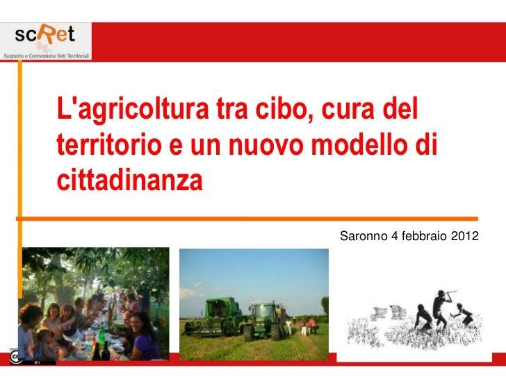 Lagricoltura tra cibo, cura delterritorio e un nuovo modello dicittadinanza                       Saronno 4 febbraio 2012