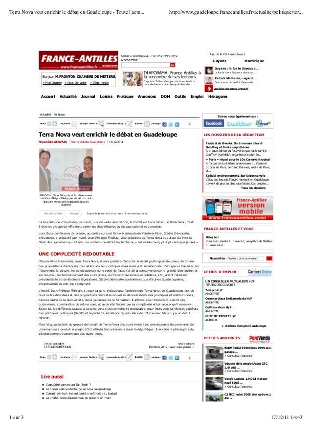 Terra Nova veut enrichir le débat en Guadeloupe - Toute lactu...                                                          ...
