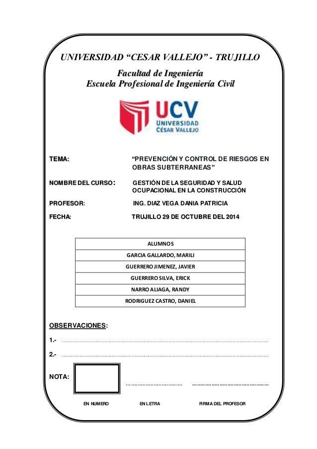 """INGENIERÍA CIVIL UNIVERSIDADCESARVALLEJO 1 UNIVERSIDAD """"CESAR VALLEJO"""" - TRUJILLO FFaaccuullttaadd ddee IInnggeenniieerríí..."""