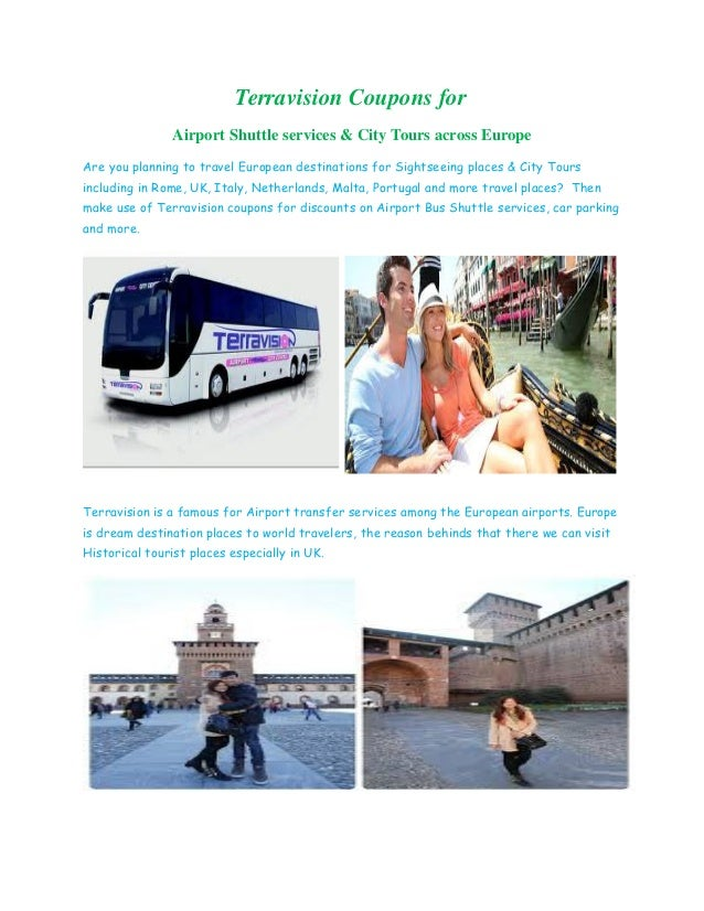Terravision Coupons for airport shuttle service & City tours across Europe
